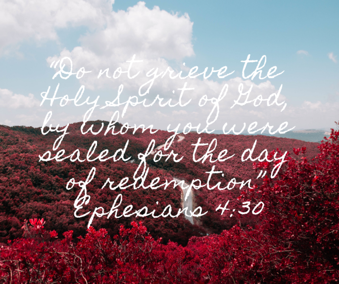 "Do not grieve the Holy Spirit of God, by whom you were sealed for the day of redemption"" Ephesians 4_30"